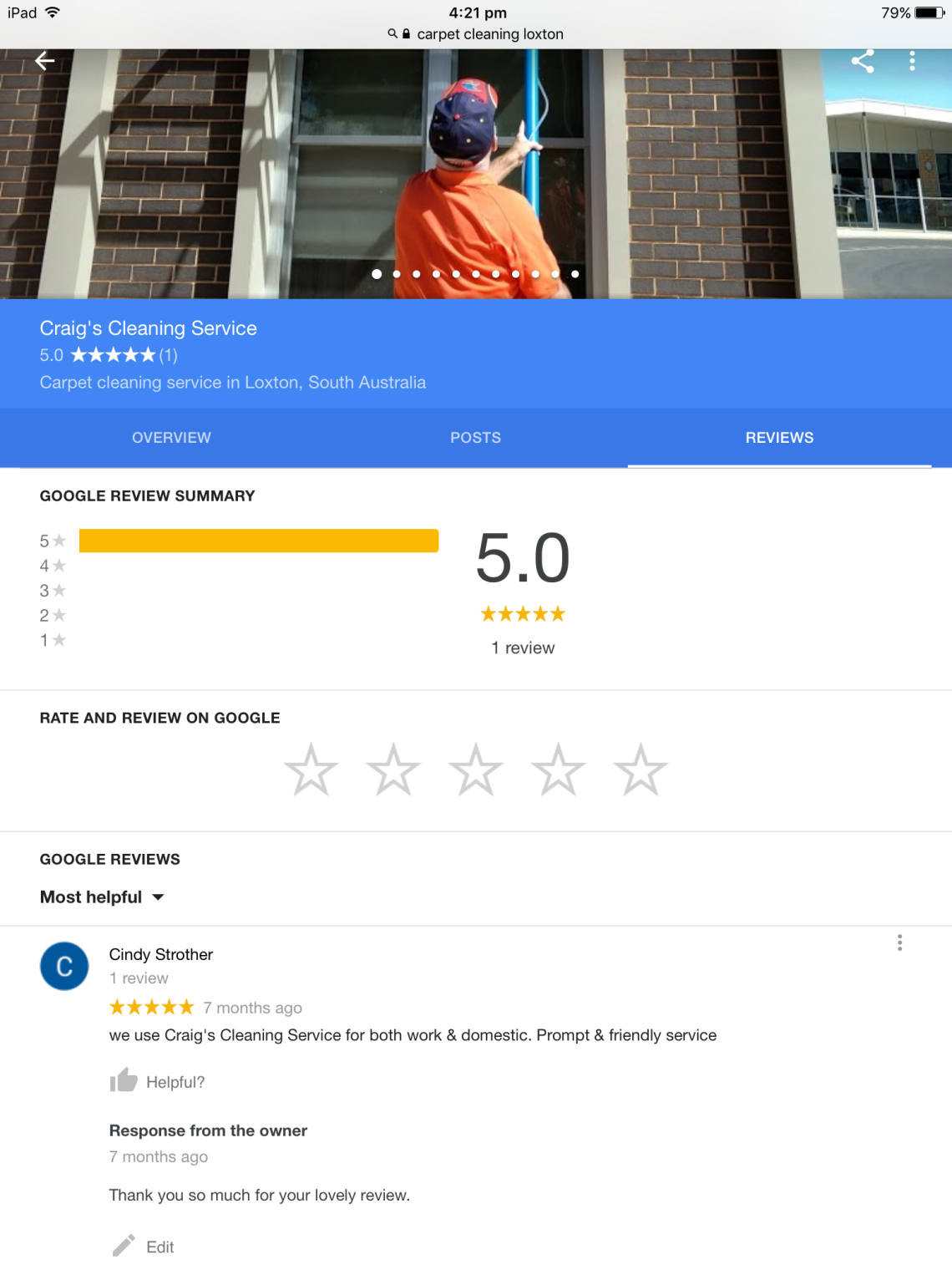 Google Reviews for Craig's Cleaning Service.